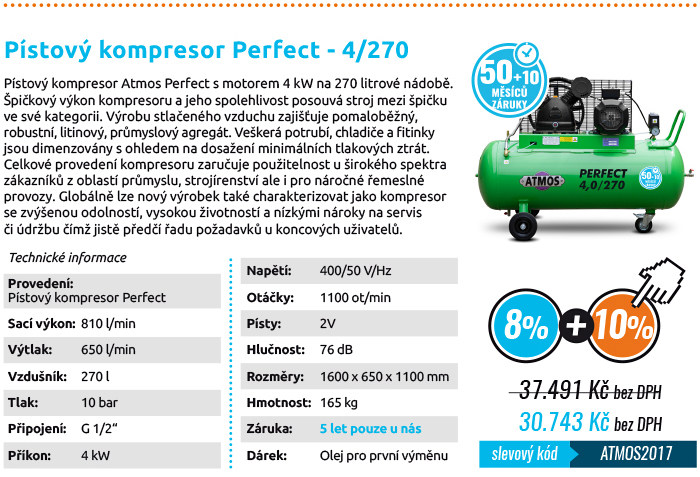 Pístový kompresor ATMOS 4/270